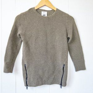 Zara Knitwear Crew Neck Sweater with Zipper Detail